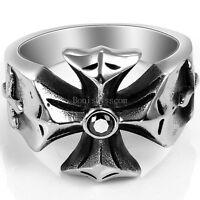 Gothic Punk Stainless Steel Biker Cross Ring Black CZ Men's Black Silver  Band