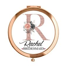 Personalised Rose Gold Compact Mirror Bridesmaid Maid of honour wedding gift