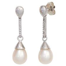 Damen Ohrhänger 585 Gold Weißgold 2 Süßwasser Perlen 18 Diamanten Ohrringe