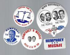 1968 HUBERT H. HUMPHREY & ED MUSKIE POLITICAL CAMPAIGN BUTTON GROUP E