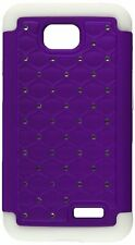 Asmyna Luxurious TotalDefense Protector Cover for LG Optimus Exceed Purple/White