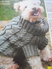 Knitting pattern cable aran dog coat jumper small to medium dog