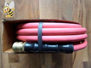 Neu 10m Hochflexibler weicher Druckluftschlauch mit Luftanschluss rot Profi Top