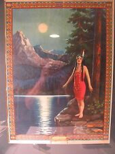 """vintage Indian Love call print, Louis Dow, large 13x 18"""", Native American"""