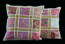 Indian Vintage Cushion Cover Set of 2 Pillow Cotton Patchwork Zari Handmade Arty