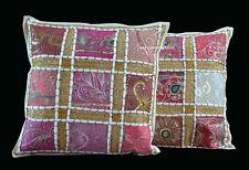 Indian Vintage Cushion Cover Set of 2 Cotton White Patchwork Zari Handmade Art