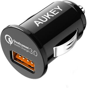 AUKEY USB Car Charger, 18w Quick Charge 3.0, Flush Fit Cell Phone Adapter for iP