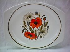 """J&G Meakin Poppy Large Oval Serving Platter Plate 12"""" x 9.5"""" Very Good Condition"""