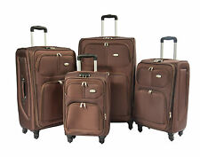Travel luggage suitcases expandable LIGHTWEIGHT bags lock 4 WHEELS Brown trolley