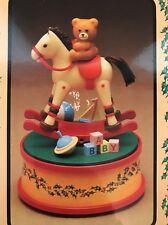 RUSS Memories of Christmas MUSIC BOX Vintage CHRISTMAS Bear on Rocking Horse NEW