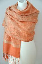 Pashmina Schal Tuch Stola Paisley gewebt 100% Viskose Orange Gold ca.198x72cm