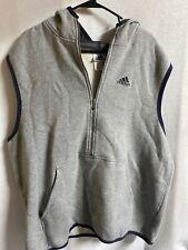 Vintage Adidas Spellout Sleeveless Hoodie Zip Up Jacket Gray 90's Sweatshirt Xl