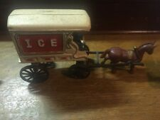 Vintage Cast Iron Toy Ice Wagon Horse Drawn & Man