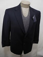 Hart Schaffner Marx Mens 100% Wool Sport Coat Blazer Navy Pinstripe 40S $550 New