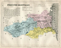 Genuine Original Antique 1877 France Hand Colored Map PYRENEES ORIENT French