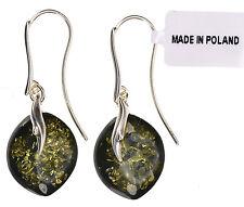 Green Baltic Amber Doublet Sterling Silver Drop Dangle Earrings