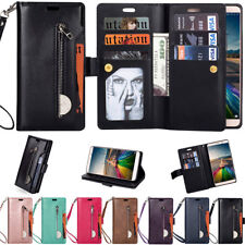 For Various Phone Leather Wallet Zipper Magnetic Flip Stand Card Slot Case Cover