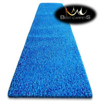 Modern Hall Runners soft SHAGGY Carpet 5cm Blue Width 60-140cm long RUGS