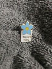 Rare UNITED WAY LAPEL PIN blue flower-100% benefits charity