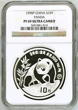 1990 China S10Y panda 1oz silver coin proof NGC PF69 ultra cameo