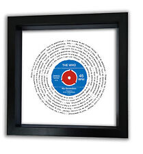 More details for the who my generation vinyl 7' record song words print - retro mod vintage gift
