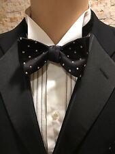 Bow Tie Self Tie Hand Made Black Silk With Swarovski Crystal Polka Dot
