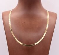 High Polished Herringbone Necklace Chain 14K Solid Yellow Gold 4.0mm ALL SIZES