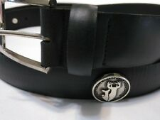 Men's Black Leather Belt with Quality Deer Management Association Conchos 44 R