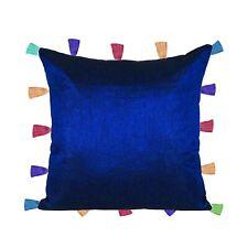Pillow Case Blue Cushion Cover Decorative Poly Dupion Multi Tassel Home Decor