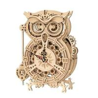 OWL Clock Model Kit Wooden Mechanical Gears Working Quartz Movement Hobby Craft