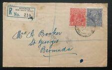 1933 Barringun Nsw Australia Registered Cover To St Georges Bermuda