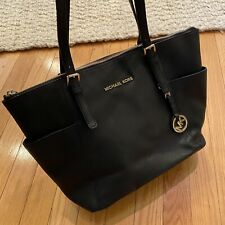 Michael Kors Black Saffiano Leather Jet Set Tote Bag