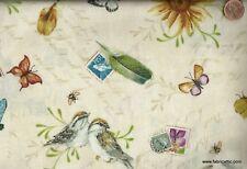 Postcard Garden birds butterflies cream floral Red Rooster fabric
