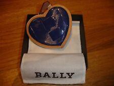 Original BALLY HERZ Geldbörse/Taschenanhänger Leder natur/blau (UVP 189,-)