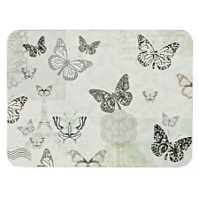 Set Of 6 Grey Lace Butterfly Home Table Dinner Placemats & Cup Coasters Set