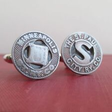 TWIN CITIES Railway Token Cuff Links, Recycled Vintage Minneapolis St Paul Coins