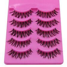 5 Pairs Makeup Eye Lashes Extension False Eyelashes pink Back Box LW