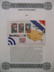 Irrtümer auf Briefmarken / USA Mi block 33 : Fußball Weltmeisterschaft 1994 USA