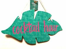 Hanging Cocktail Hour Bar Sign Wood Leaf Shaped Plaque Pink Letters 12 inches