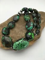 Navajo Sterling Silver Graduated Green Nugget Turquoise Necklace Gift 20in 2759
