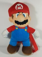 Mario doll red blue 13 inch stuffed plush backpack zippered bag with straps