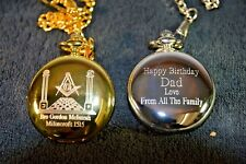 MASONIC GIFT PERSONALISED POCKET WATCH YOUR NAME AND LODGE No PLUS FREE MESSAGE