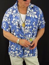 Hawaiian Aloha Shirt Blue Sky Apparel Blue White Hibiscus Rayon Men's L,  H122