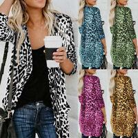 Womens New Long Sleeve Leopard Print Long Coat Blouse T-Shirt Tops Outwear
