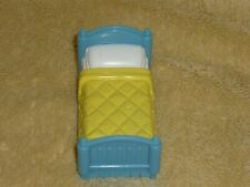 Fisher Price Sweet Streets Dollhouse Cottage Single Kid Bed Blue & Yellow