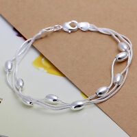 925 Sterling Silver Filled Ladies Light Bead Chain Bracelet Fashion Jewelry