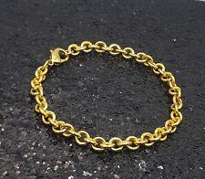 18K Gold Filled Stylish Italian Smooth Rolo Link Chain 18ct GF Bracelet 18cm