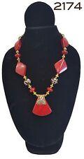 Brand New Handmade Costume Boho Chic Red & Brass Tribal Chunky Bead Necklace