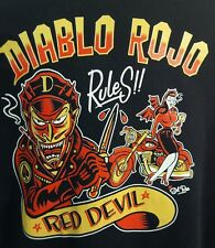 Diablo Rojo Rules Red Devil t shirt biker hot rod gang motorcycle