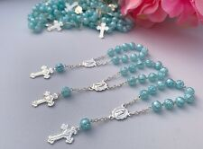 100 Mini Rosary Light Blue baptism  Favors/recuerdos De Bautizo/communion Favors
